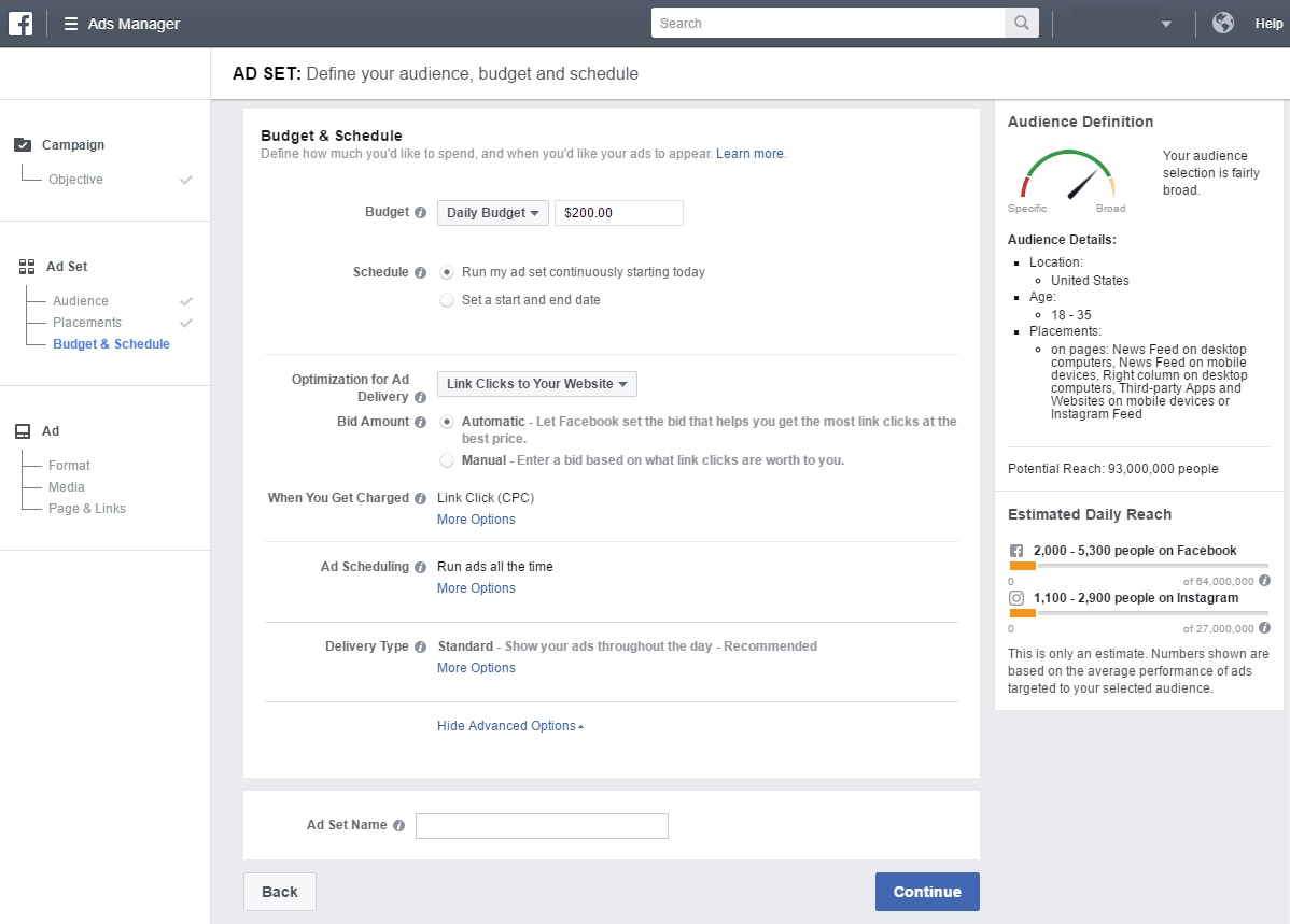 facebook ad budget page