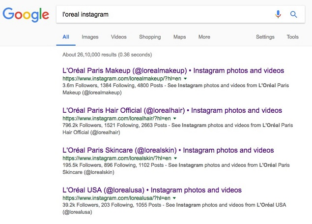 Image from L'Oreal's google search results