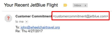 personalized sender jetblue