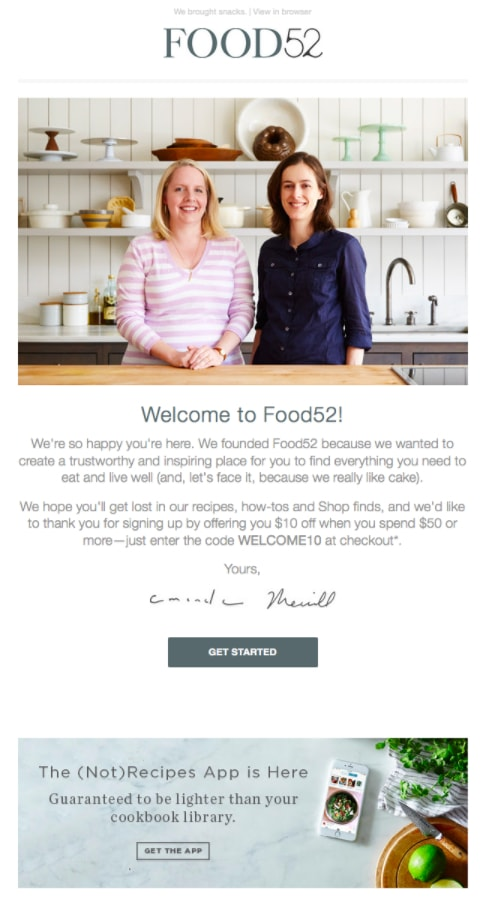 welcome email food52