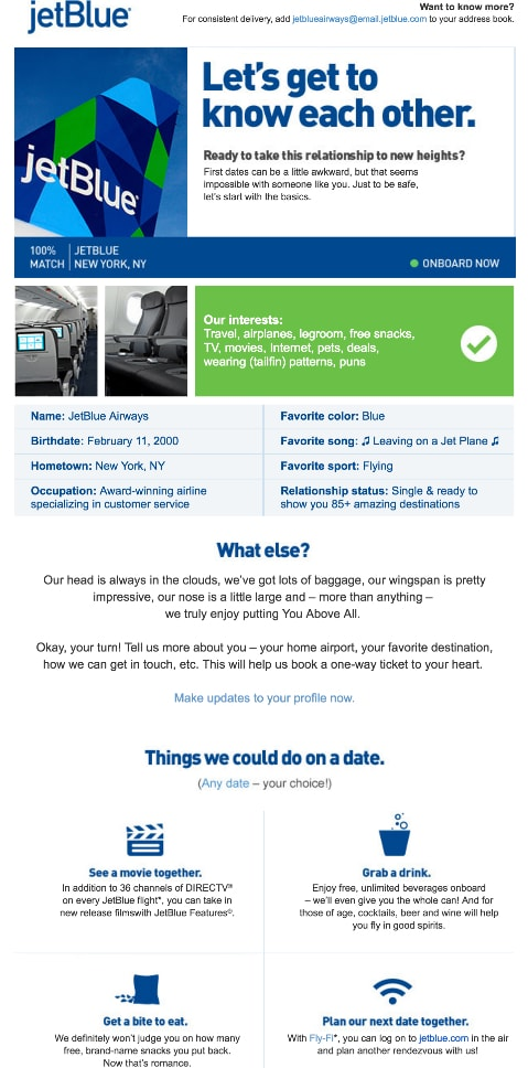 lead nurture email jetblue