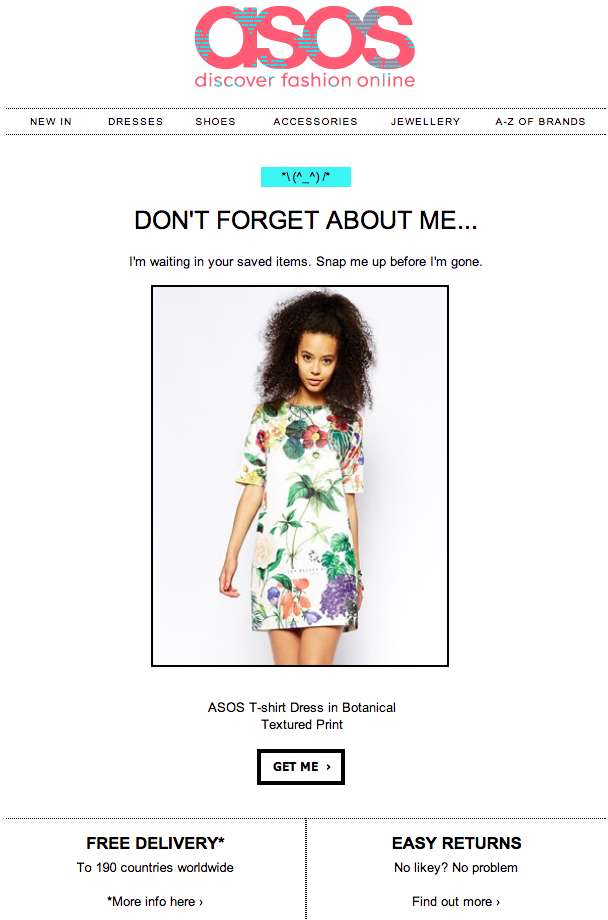asos abandoned cart email reminder
